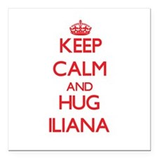 "Keep Calm and Hug Iliana Square Car Magnet 3"" x 3"""