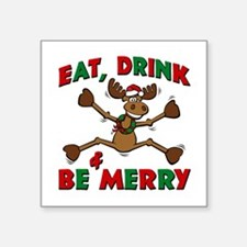"Merry Christmoose Party Square Sticker 3"" x 3"""