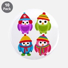 "Adorable Retro Winter Owls 3.5"" Button (10 pack)"