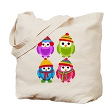 Adorable Retro Winter Owls Tote Bag