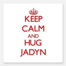 "Keep Calm and Hug Jadyn Square Car Magnet 3"" x 3"""