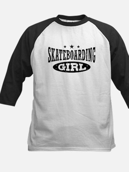 Skateboarding Girl Kids Baseball Jersey