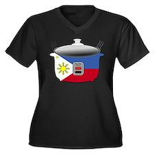 Rice Cooker Women's Plus Size V-Neck Dark T-Shirt