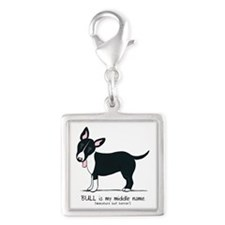 Bull Terrier Name Silver Square Charm