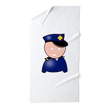 Cartoon Police Officer Beach Towel