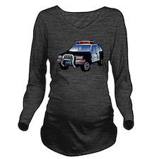 Police Car Long Sleeve Maternity T-Shirt