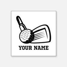 "Personalized Name Golf Design Square Sticker 3"" x"