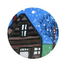 Snowing Night Ornament (Round)