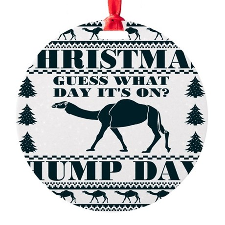 Blue Hump Day Guess What Christmas Round Ornament