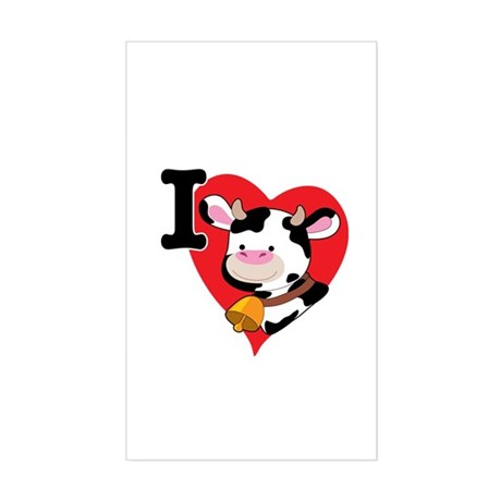 I Love Cows Rectangle Sticker