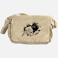 Kitten Looking Through Hole Messenger Bag