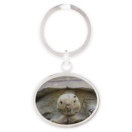 Happy Tortoise Oval Keychain