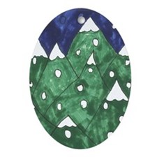 Winter Mountains Ornament (Oval)