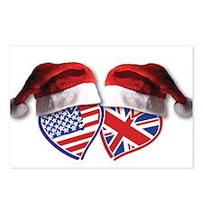 Christmas UK USA Patriotic Hearts Postcards (Packa