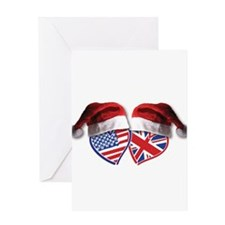 Christmas UK USA Patriotic Hearts Greeting Cards