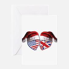 Christmas UK USA Patriotic Hearts Greeting Cards