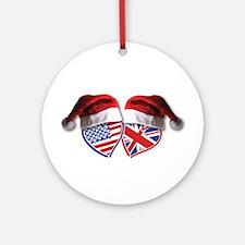 Christmas UK USA Patriotic Hearts Ornament (Round)