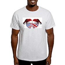 Christmas UK USA Patriotic Hearts T-Shirt