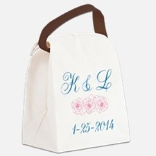 Personalized initials dates Canvas Lunch Bag