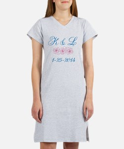 Personalized initials dates Women's Nightshirt