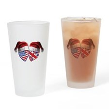 Christmas UK USA Patriotic Hearts Drinking Glass