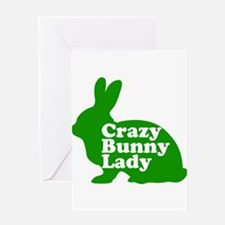 Crazy Bunny Lady Greeting Card