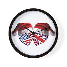 Christmas UK USA Patriotic Hearts Wall Clock