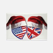 Christmas UK USA Patriotic Hearts Magnets