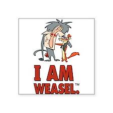 """I Am Weasel Friends Square Sticker 3"""" x 3"""""""
