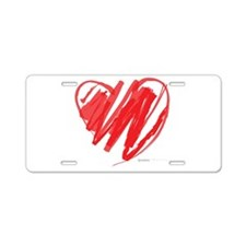 Crayon Heart Aluminum License Plate