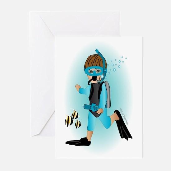 Scuba Boy (brunette) Greeting Cards (Pk of 10)