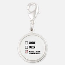 Mentally Dating Sam Winchester Silver Round Charm