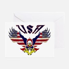 'Eagle w/ Flag Wings (USA)'  Greeting Cards (Packa