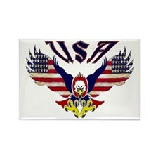 'Eagle w/ Flag Wings (USA)' Rectangle Magnet (100