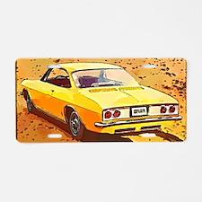 Yellow Corvair Watercolor Aluminum License Plate