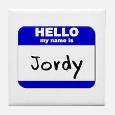 hello my name is jordy  Tile Coaster