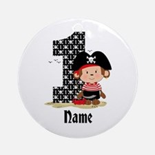 Personalized Monkey Pirate 1st Birthday Ornament (