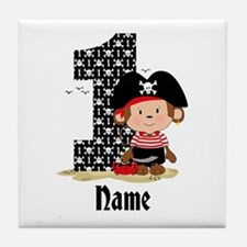 Personalized Monkey Pirate 1st Birthday Tile Coast