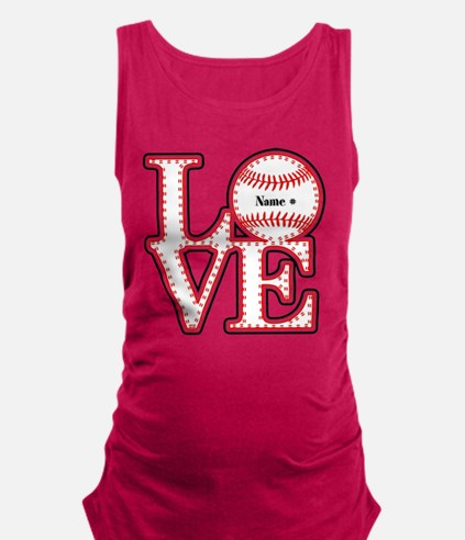 Perpsonalized Love Softball Maternity Tank Top