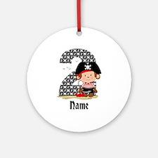 Personalized Monkey Pirate 2nd Birthday Ornament (