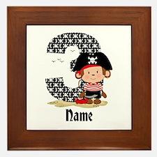 Personalized Monkey Pirate 3rd Birthday Framed Til