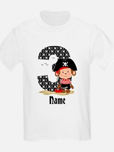 Personalized Monkey Pirate 3rd Birthday T-Shirt