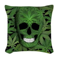 Pot Leaf Skull Woven Throw Pillow