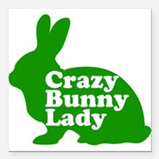 "Crazy Bunny Lady Square Car Magnet 3"" x 3"""