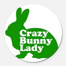 Crazy Bunny Lady Round Car Magnet