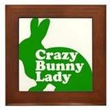 Crazy bunny lady Framed Tiles