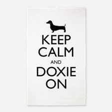 Keep Calm and Doxie On 3'x5' Area Rug
