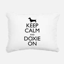Keep Calm and Doxie On Rectangular Canvas Pillow
