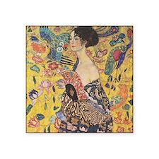 "Klimt Lady with Fan Square Sticker 3"" x 3"""