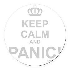 Keep Calm And Panic Round Car Magnet